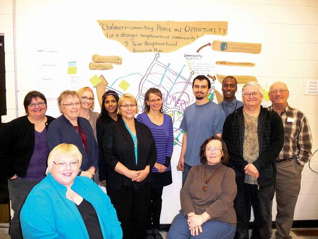Members of the Elmwood & Chalmers Neighbourhood Renewal Corporation. The action plan for this year calls for new planter and new bike racks for the neighbourhood.