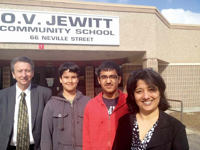 O.V. Jewitt principal Bob McIntosh, students David Doerksen and Vikram Khangura and teacher Harpreet Panag. The two boys will attend a Student People to People Leadership Summit at Harvard University in Cambridge, Mass., this summer.