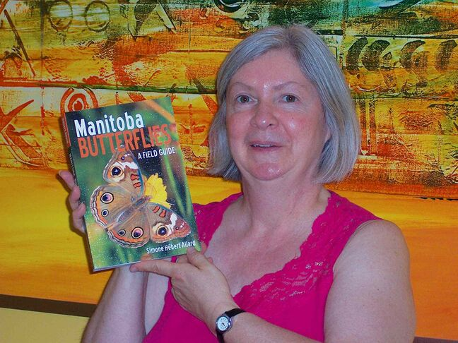 Writer and visual artist Simone Hébert Allard and her book, Manitoba Butterflies: A Field Guide.