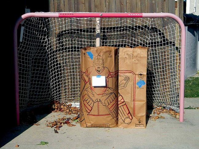 A leading Canadian retailer has come up with an innovative approach to its design for yard waste bags. Three of these make a goalie for your kids' street hockey net.