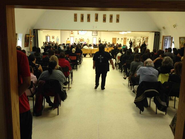 A large number of mourners turn out for Tina Fontaine's funeral at a church in Sagkeeng First Nation, about 90 kilometres northeast of Winnipeg.