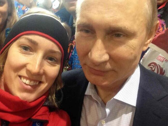 Winnipeg speedskater Brittany Schussler took a 'selfie' with Russian president Vladimir Putin at  the Sochi Olympics.