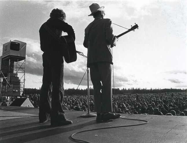 FORTY YEARS OF FOLK FEST — Performers on stage at the Winnipeg Folk Festival on July 6, 1983.