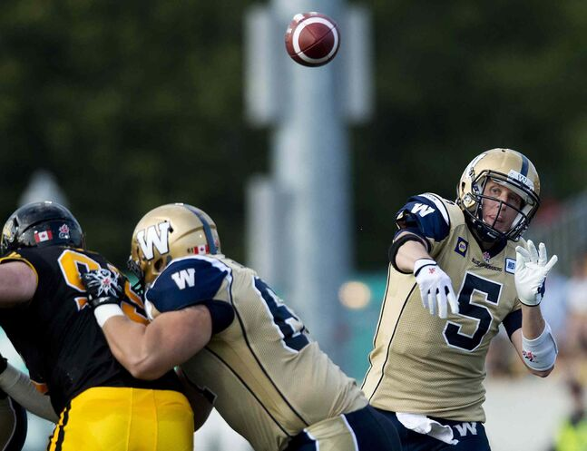 Winnipeg Blue Bombers' quarterback Drew Willy makes a pass against the Hamilton Tiger-Cats during first half of Thursday's game.