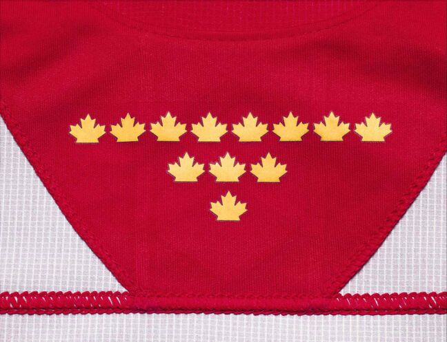 Inside each jersey's collar, players will find 12 gold maple leaves to represent Hockey Canada's total number of Olympic and Paralympic gold medals – eight in men's hockey, three in women's and one in sledge.