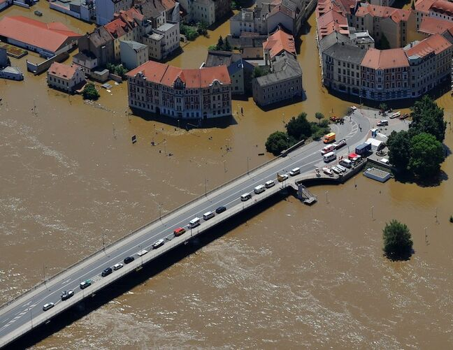 The old town of Meissen, Germany, remains flooded.