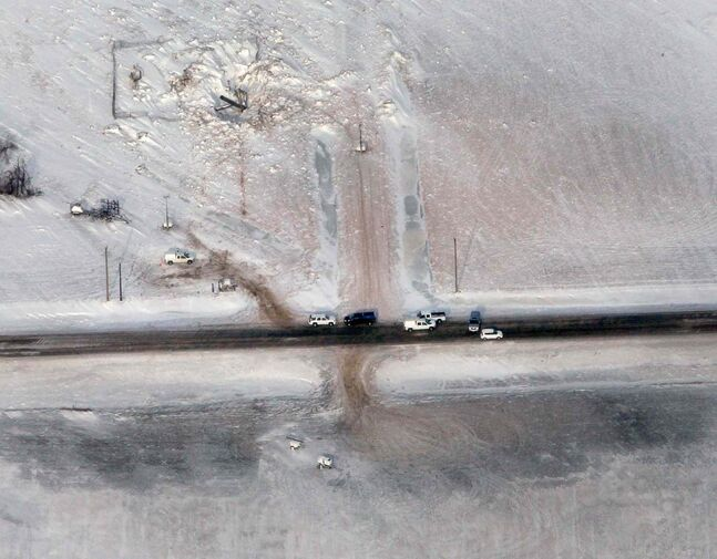 Aerial view Monday of the site of the TransCanada pipeline explosion and fire.