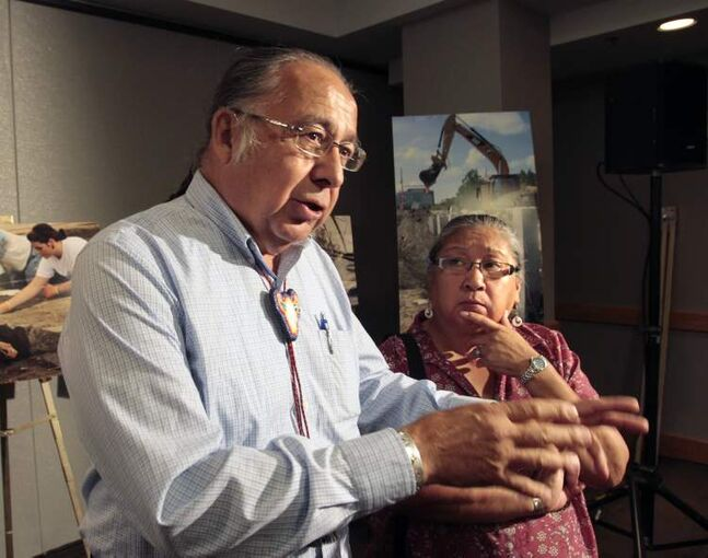 Clarence and Barbara Nepinak talk to the media at the Canadian Museum for Human Rights news conference. Ojibway elders blessed the announcement with a traditional prayer.