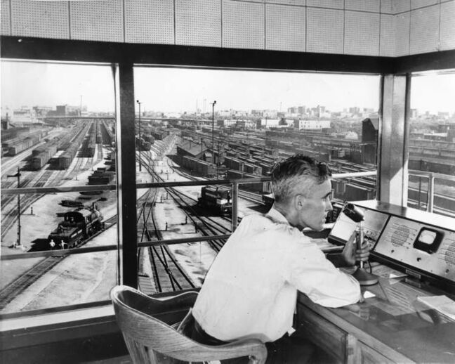 Winnipeg Free Press Archives A supplied old style composite image from CP Rail shows the inside of the control tower at the CP Rail Yards.