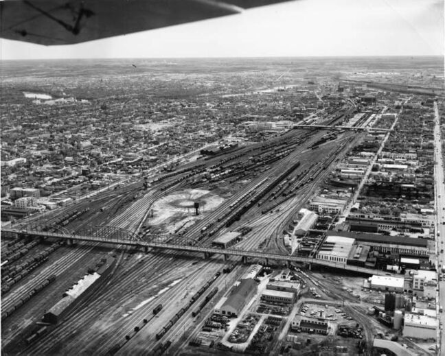 Winnipeg Free Press Archives May 1964 This aerial view of the Canadian Pacific Railway yards in Winnipeg shows a section of the yards between the Arlington and Salter Street bridges. This yard, among the largest privately owned rail yards in the world, handles about 3,500 rail cars per day. There are 285.06 miles of tracks in its 1,134 acres with storage capacity for 14,730 railway cars.