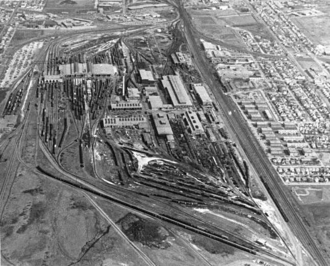 Ken Gigliotti / Winnipeg Free Press Archives April 21, 1980 An aerial photo looking east of the CP Rail Weston Shops.