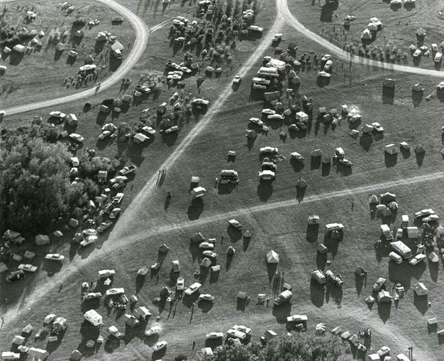 Aerial view of the Winnipeg Folk Festival grounds on July 11, 1977. (WINNIPEG FREE PRESS)