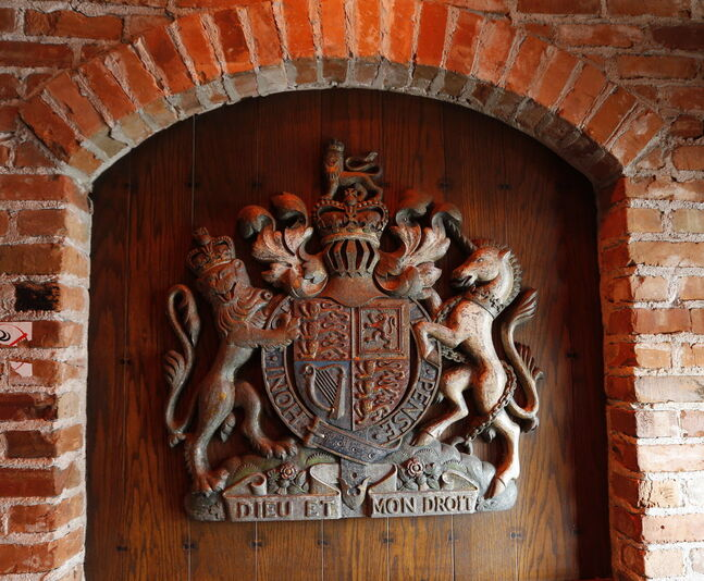 Front entrance coat of arms for  Bailey's Restaurant & Lounge.