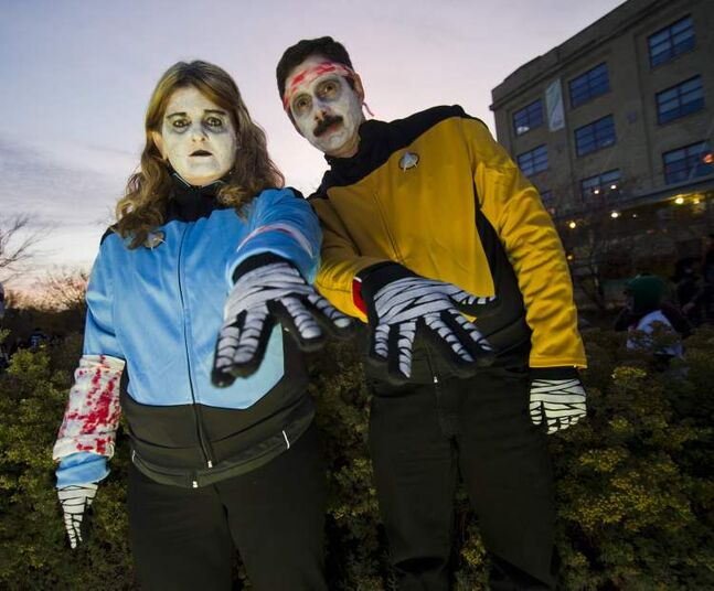 Startrek Zombies Samantha and Carl Harris participated in the annual Winnipeg Zombie Walk from The Forks to The Manitoba Legislative Building Saturday night.  DAVID LIPNOWSKI / WINNIPEG FREE PRESS