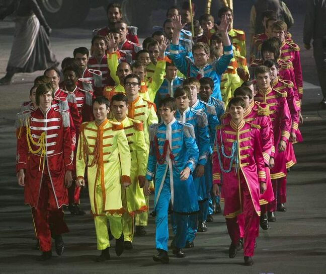 Performers pay tribute to the Beatles Sgt Pepper album during the opening ceremonies for the 2012 Summer Olympics Friday, July 27, 2012 in London.