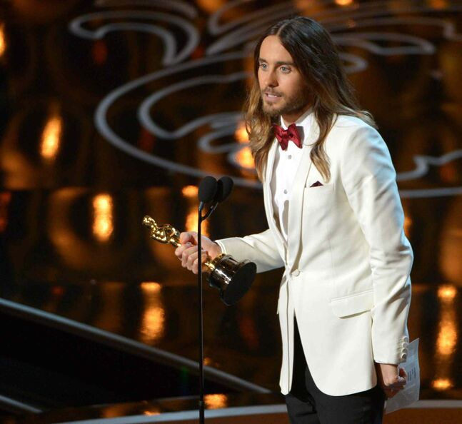 Jared Leto accepts the Academy Award for best actor in a supporting role for Dallas Buyers Club .