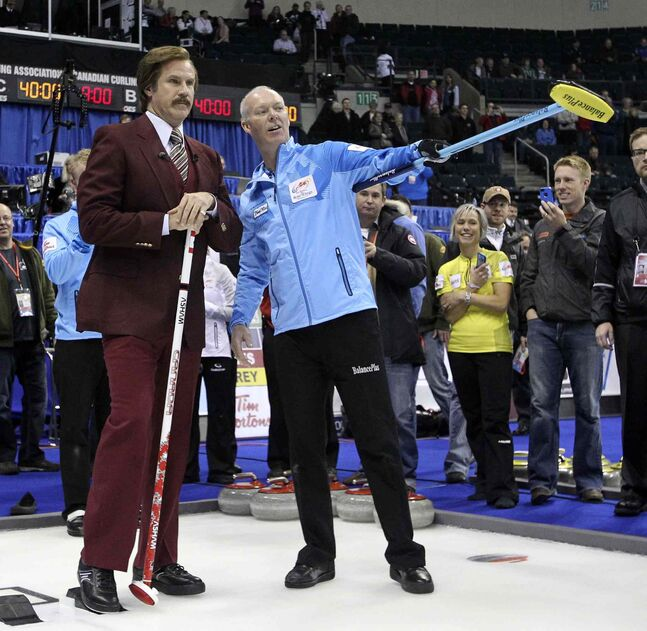 Ron Burgundy gets pointers before throwing the first rock at Roar of the Rings.