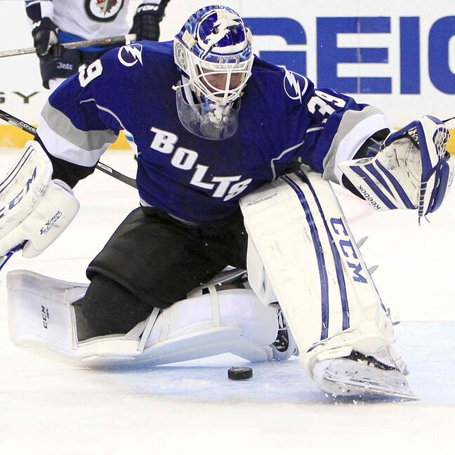 Tampa Bay Lightning goalie Anders Lindback makes a save against the Winnipeg Jets during the second period.