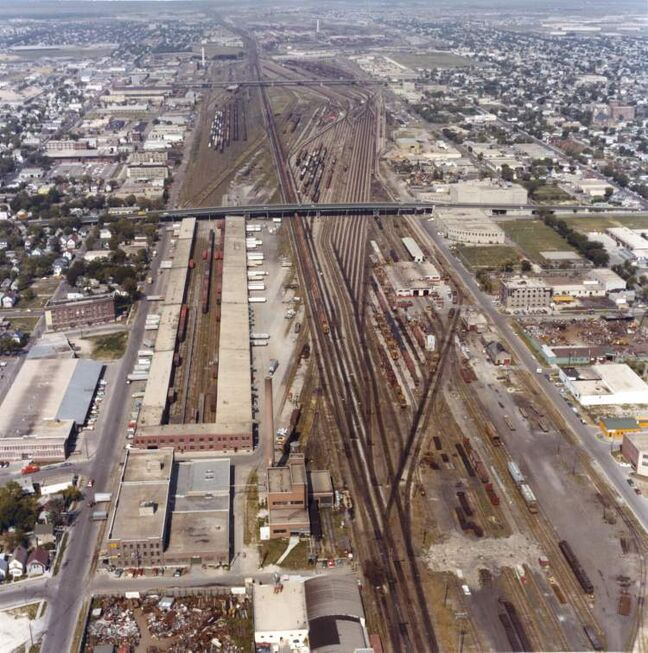 Winnipeg Free Press Archives March 18, 1981 An aerial photo looking west over the CP Rail Yard with the Slaw Rebchuk Bridge in the foreground.
