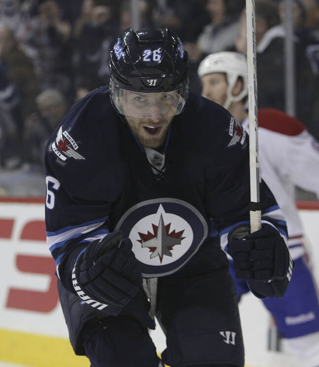 Winnipeg Jets' Blake Wheeler (26) celebrates his against the Canadiens in the second period.