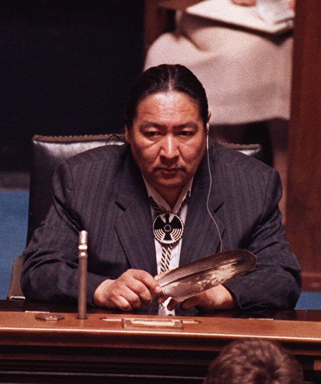 June 19, 1990: NDP MLA Elijah Harper sits in the Manitoba Legislature holding an eagle feather for spiritual strength as he continues to delay the house debate on the Meech Lake Accord.