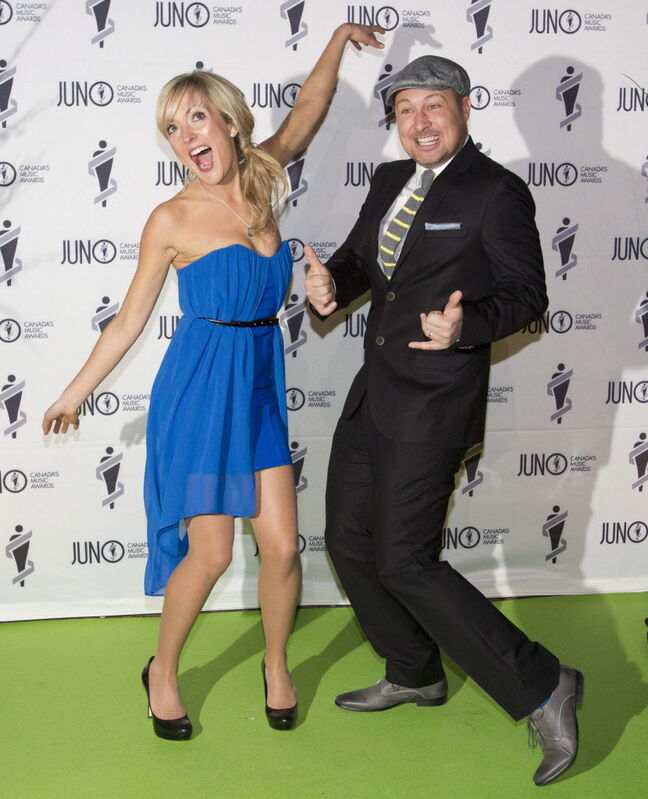 Members of Splash'n Boots have some fun on the green carpet at the Juno Gala.