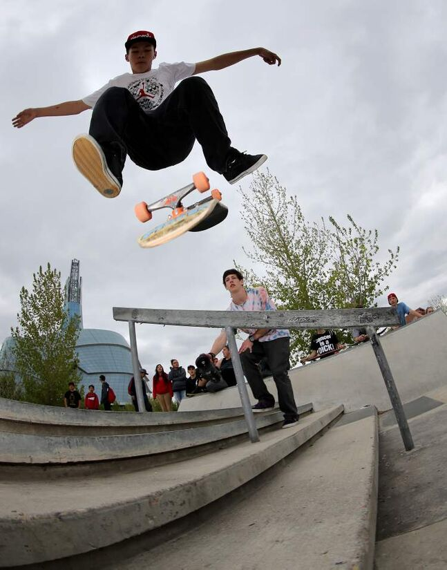 A participant catches some air during the Skate4Cancer skateboarding competition at The Forks Saturday.
