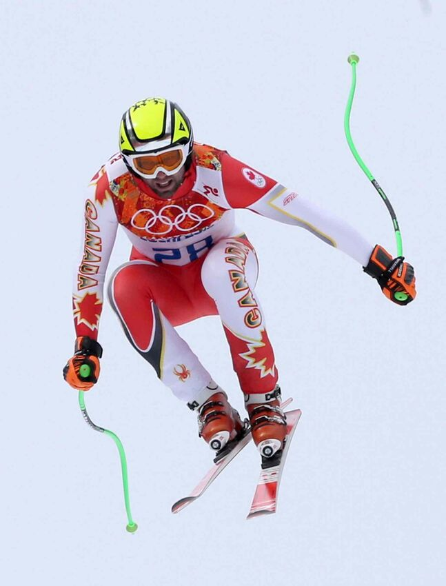 Canada's Manuel Osborne-Paradis jumps during the men's downhill at the Sochi 2014 Winter Olympics, Sunday.