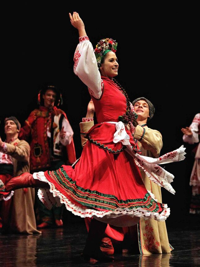 Members of the Rusalka Ukrainian dance troupe perform during their 50th anniversary gala at the Centennial Concert Hall Sunday afternoon.