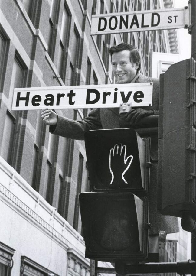 Mayor Bill Norrie officially proclaims Donald Street Heart Drive February 5, 1980.