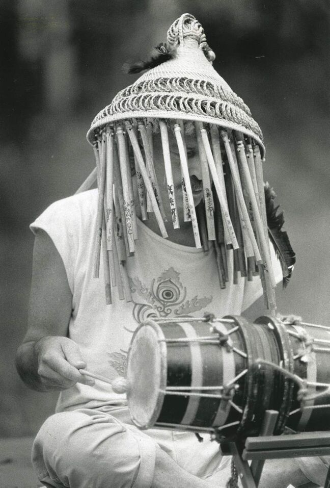 A member of Lights in a Fat City plays a drum at the festival on July 8, 1989. The group was known for playing on instruments from all over the world, alongside custom built devices made from recycled scrap metals and bamboo. (KEN GIGLIOTTI / WINNIPEG FREE PRESS)