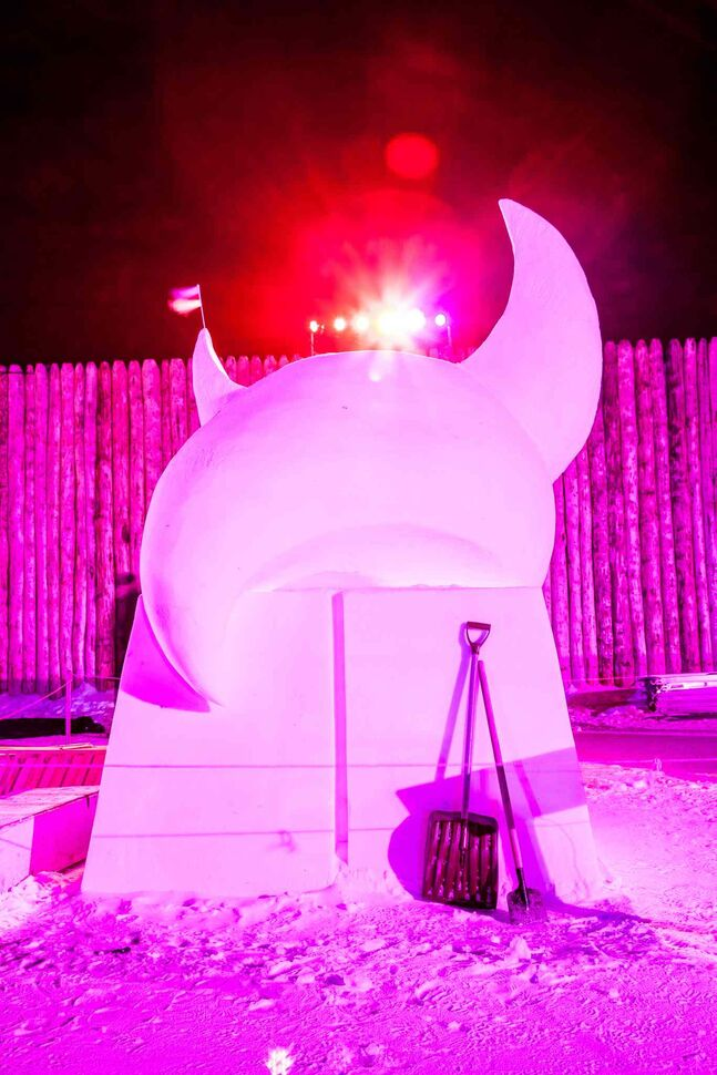One of many majestic ice and snow sculptures on display at this year's Festival du Voyageur.