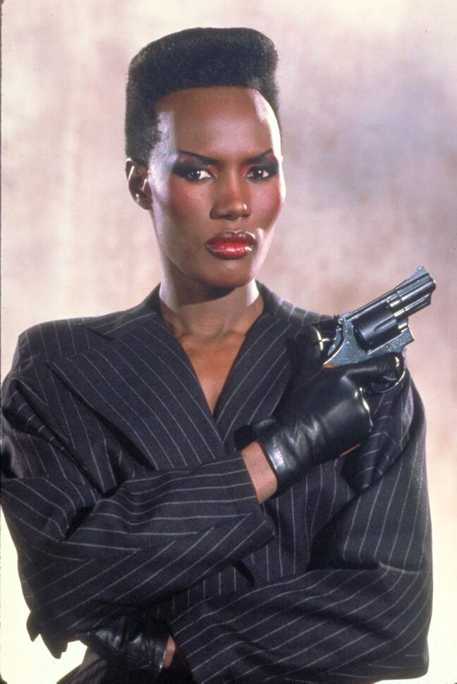 Grace Jones as May Day from the James Bond 1985 film, A View to a Kill. Modern Bond girls also present a more formidable challenge to the suave secret agent.