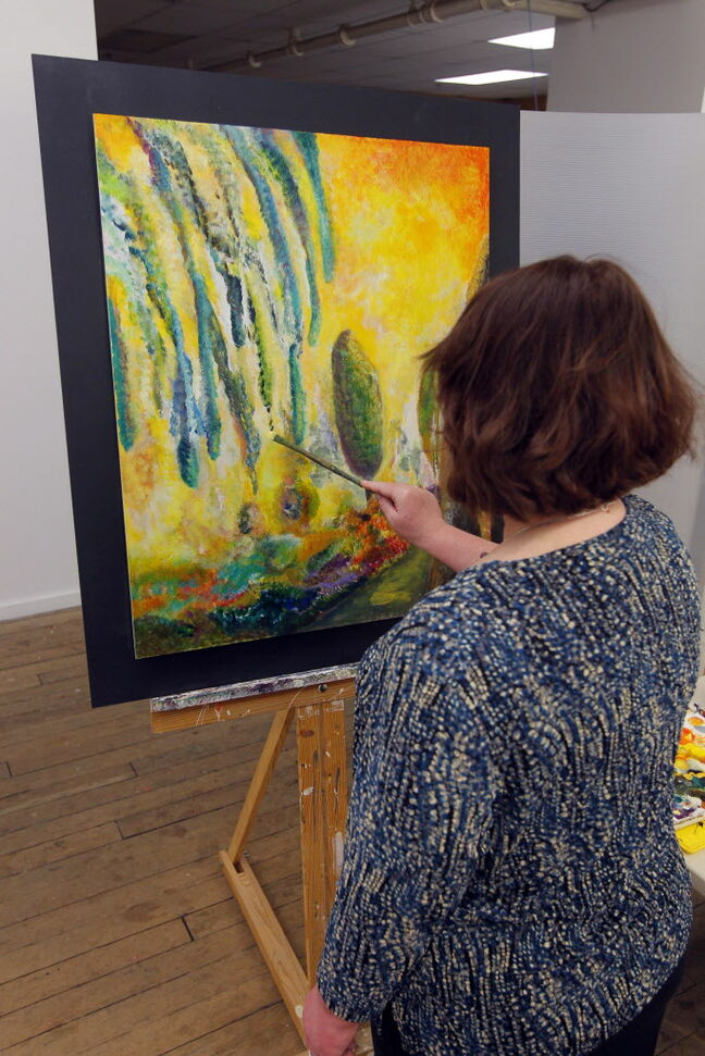 Kathleen Crosby is one of seven Artbeat Studio alumni putting their creative powers to work during the 24-hour art-a-thon at Winnipeg's Artbeat Studio.