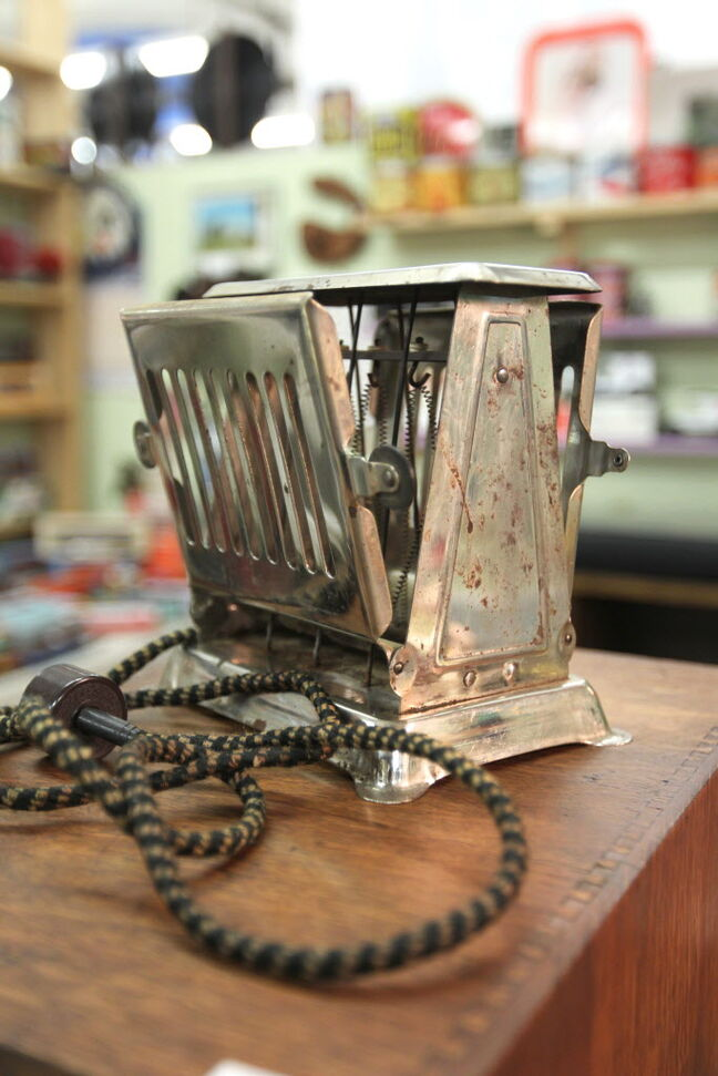 Thirsty's Flea Market at 1111 Ellice Ave. has eclectic vintage goods, including a vintage toaster.