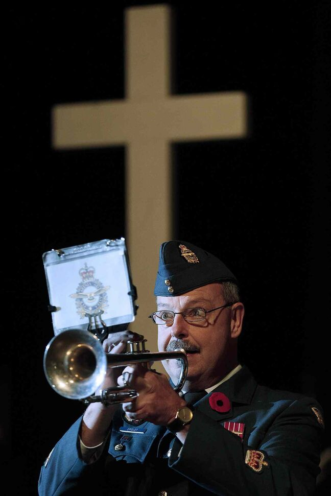 The Last Post is played during the Remembrance Day service at the RBC Convention Centre Winnipeg.