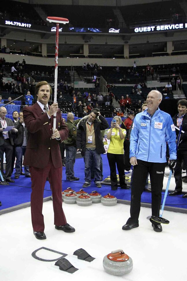 Ron Burgundy prepares to throw the first rock at Roar of the Rings.