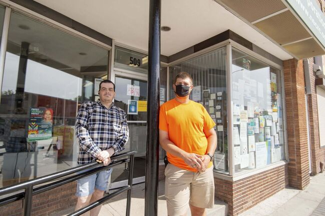 John Morrissette and Daniel Waycik. The North End grassroots group's new program aims to change security enforcement and uplift everyone involved. (Mike Sudoma / Winnipeg Free Press)