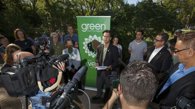"Leader James Beddome sketched out the broad strokes of the Greens' election platform at a press conference Friday, saying, ""We are not a one-issue party."" (Mike Deal / Winnipeg Free Press)						</p>"