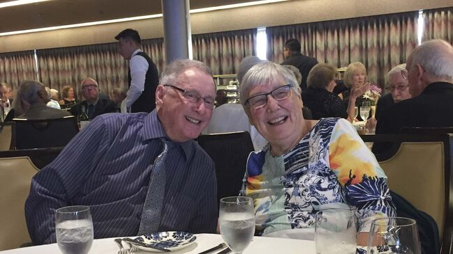 <p>Leonard and Mary at a family dinner in 2018. (Supplied)</p>