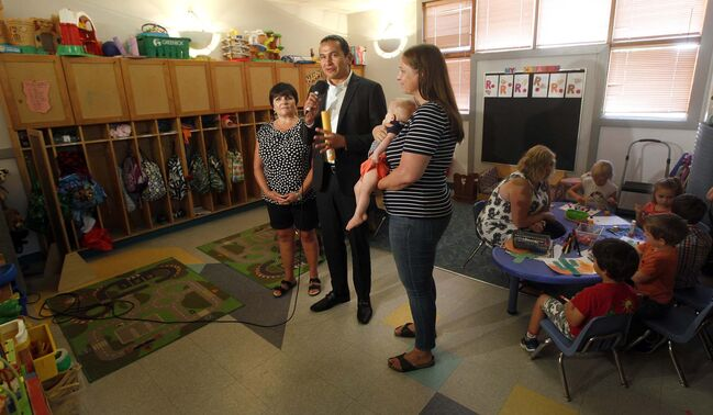 PHIL HOSSACK / WINNIPEG FREE PRESS			</p>																																					<p>NDP Leader Wab Kinew announced on Tuesday a pledge to freeze funding on not-for-profit child-care programs if his party is elected.			</p>