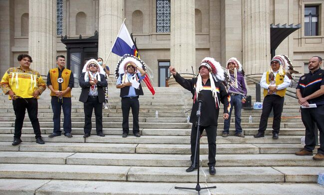 MIKE DEAL / WINNIPEG FREE PRESS</p><p>MKO Grand Chief Garrison Settee along with other chiefs from the Treaty 5 First Nations gather on the front steps of the Manitoba Legislative building Monday morning to announce an action plan to combat hate crime and racism.210719 - Monday, July 19, 2021.</p>