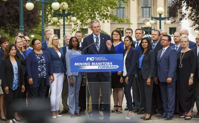 Tory Leader Brian Pallister, backed by his party's candidates, launches his party's bid for re-election Monday afternoon. (Mike Deal / Winnipeg Free Press)						</p>