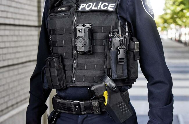 Promotional image of an Axon Body 3 camera, used by some police forces in North America. (Axon Public Safety Canada)