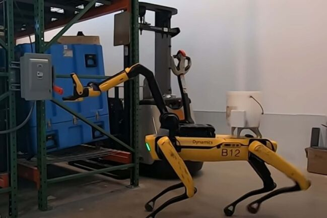 """The robotic dog """"Spot"""" is seen operating a switch in a video made by its manufacturer, Boston Dynamics. (YouTube)</p>"""