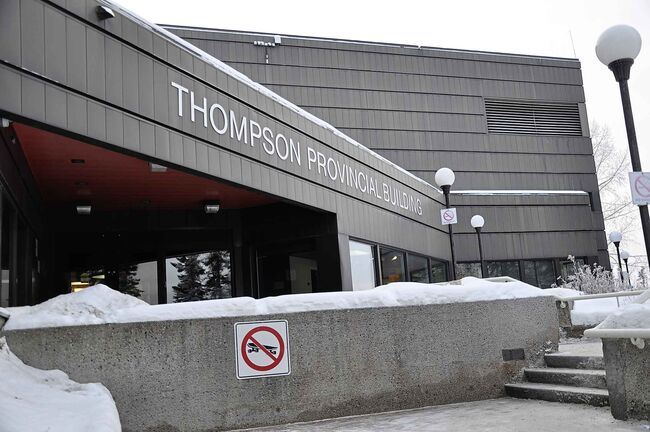 The Thompson provincial building houses the basement court office.