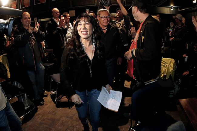 """It's a people's movement. We did it!"" Leah Gazan told a packed West End Cultural Centre. (John Woods / Winnipeg Free Press)   Reporter:"