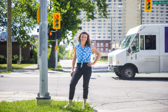 Denae Penners says the Ellen Street site will become an outdoor gathering space for various events, including Zumba, street hockey and a bike clinic. (Mikaela MacKenzie / Winnipeg Free Press)