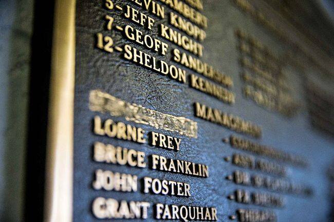 A plaque at Innovation Credit Union iPlex in Swift Current commemorating the  Broncos' 1989 Memorial Cup win has Graham James' name scratched out.  (Mikaela MacKenzie / Winnipeg Free Press)
