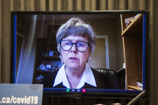 Speaking via livestream, Dr. Lynn Stevenson said the Maples Long Term Care Home was severely short-staffed and unprepared to care for extremely ill seniors during an intense COVID-19 outbreak. (Mikaela MacKenzie / Winnipeg Free Press)